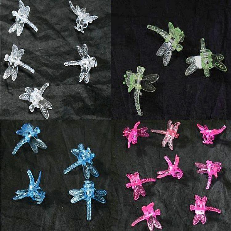 (5 Pack) Assortment of Colors - Plastic Dragonfly Clips by Sophie's Orchids