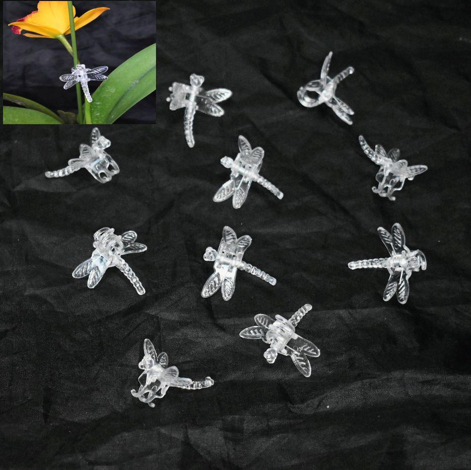 (10 Pack) Clear Plastic Dragonfly Clips by Sophie's Orchids