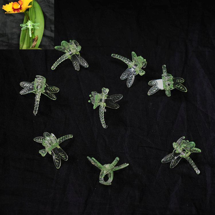 (15 Pack) Green Plastic Dragonfly Clips by Sophie's Orchids